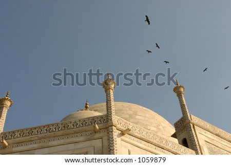 Unusual view of Taj Mahal, Agra, India - stock photo