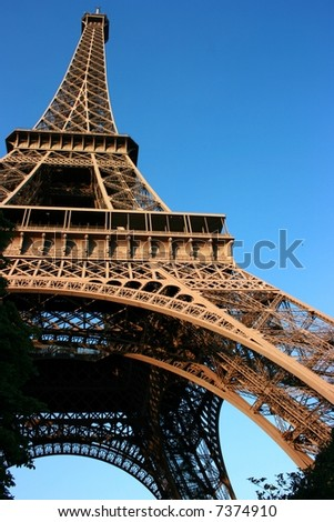 Unusual wide-angle view of the Eiffel Tower, Paris, France