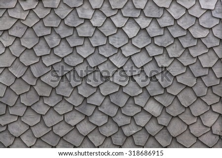 unusual  wooden roof tiles texture - stock photo