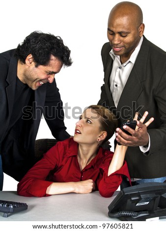 unwanted advances in the office with white background - stock photo