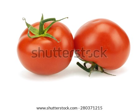 Unwashed tomatoes on a white background  - stock photo