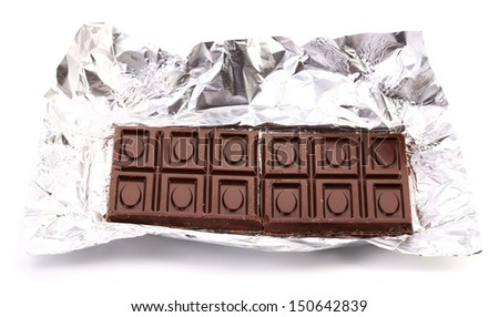 Unwrapped Chocolate Bar. Close up. White background. - stock photo