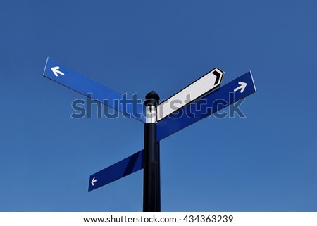 Unwritten road sign in the sunny day on the blue sky