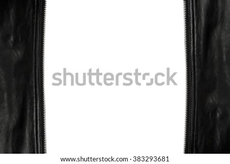 unzip leather frame isolated on white background