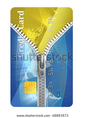 unzipped credit card 3d concept - stock photo