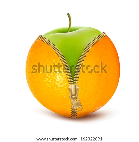 Unzipped orange with green apple. Fruit and diet against cellulite.  Raster version of vector. - stock photo