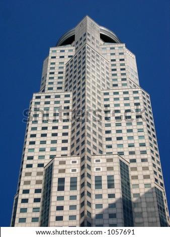 UOB Plaza One Building on a Dark Blue Sky - stock photo
