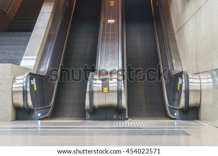 Up and down escalators in the building