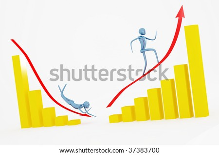 up and down going men on the golden diagram - stock photo