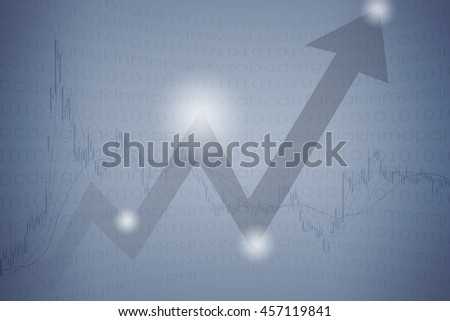 Up arrow and stock market curve graph abstract background - stock photo