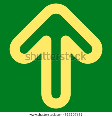 Up Arrow glyph icon. Style is contour flat icon symbol, yellow color, green background.