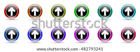 up arrow round glossy colorful web icon set