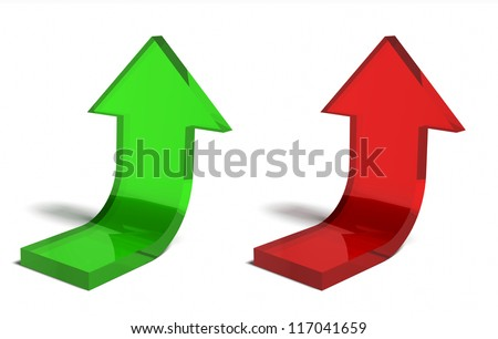Up arrows showing financial success. Transparent glossy arrow bent upward. Metaphor for business success and teamwork achievement, or job well done / Green and red upward arrows - stock photo