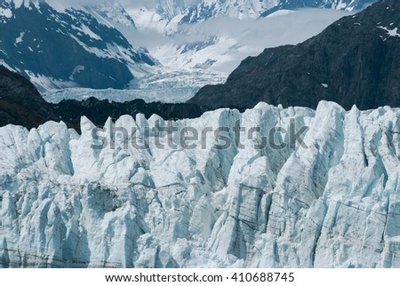Up close view of Margerie Glacier at Glacier bay national park in Southeast Alaska - stock photo