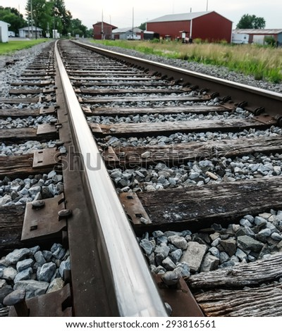 up close view railroad tracks
