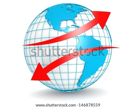 Up down red arrow with globe - stock photo