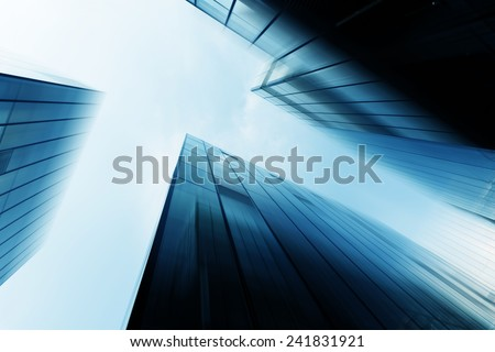up looking modern office building exterior - stock photo