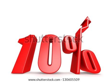 Up 10 percent - stock photo