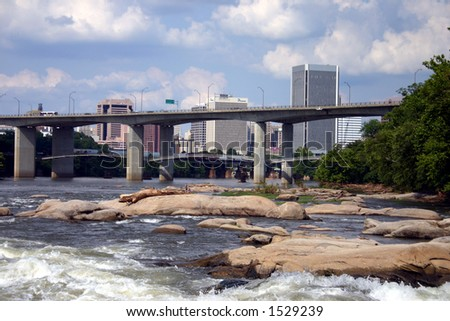 Up River View of Downtown Richmond Virginia