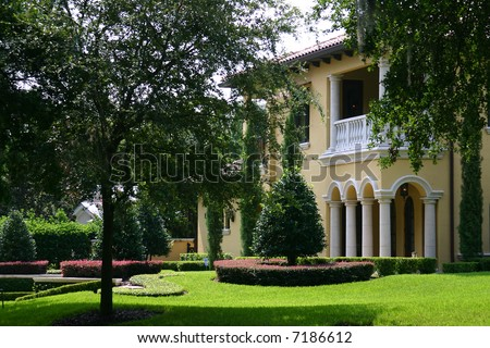 Up-scale Spanish style home in Florida PHOTO ID: House00017 - stock photo