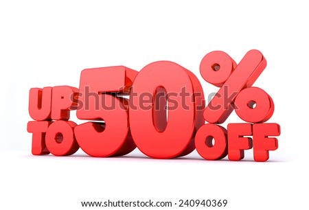 Up to 50% Off 3D Render Red Word Isolated in White Background - stock photo