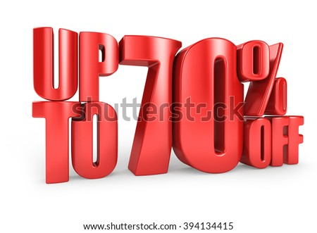 Up to 70% Off 3D Render Red Word Isolated in White Background - stock photo