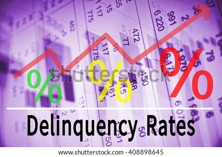 Up trend arrow with percent symbols and inscription Delinquency Rates.