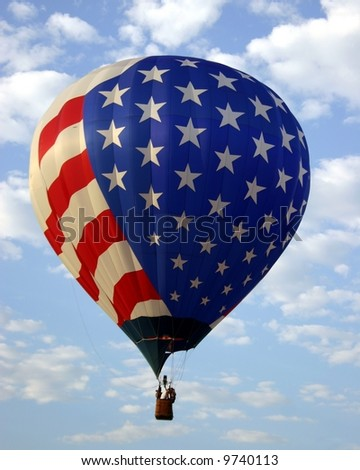 Up, Up, and Away America - Patriotic Balloon - stock photo
