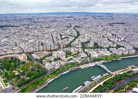 Up view of Paris, Tour Eiffel view. - stock photo