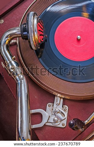 Up view very close up old gramophone  - stock photo