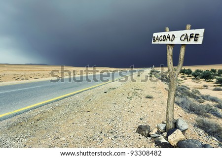 upcoming sandstorm in the syrian desert - stock photo