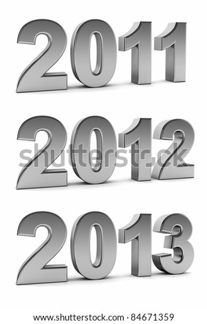 Upcoming years 2012 and 2013 as chrome digits over white background - stock photo