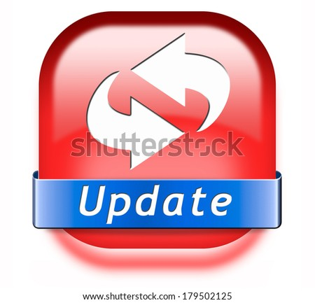 Update button updating software now and here to the latest newest version or new edition - stock photo