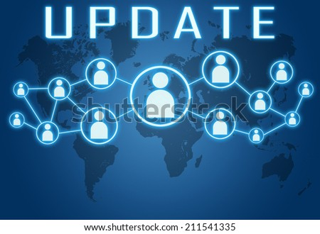 Update concept on blue background with world map and social icons. - stock photo