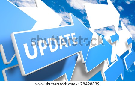 Update 3d render concept with blue and white arrows flying upwards in a blue sky with clouds - stock photo