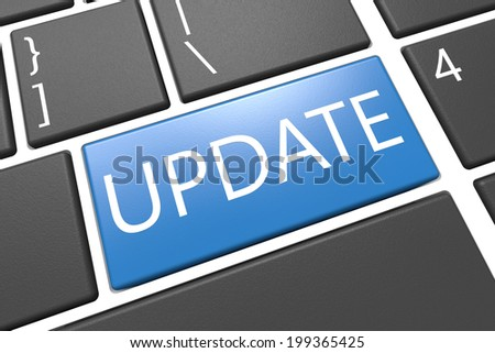 Update - keyboard 3d render illustration with word on blue key - stock photo