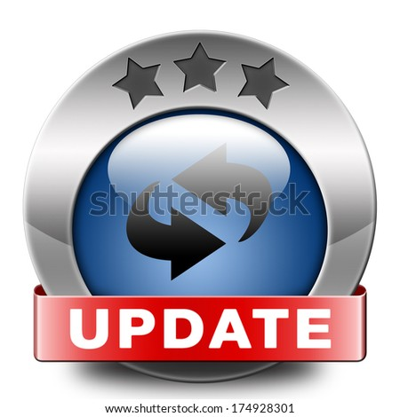 Update software now and here to the latest newest version or new edition, button banner or icon - stock photo