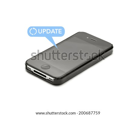update symbol and mobile phone on white - stock photo