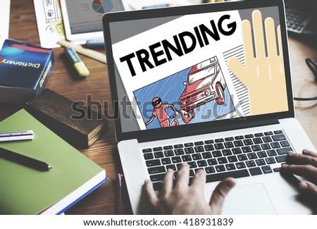 Update Trending Breaking News Report Information Concept - stock photo