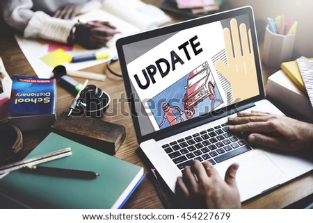Update Trending Breaking News Report Information Concept - stock photo