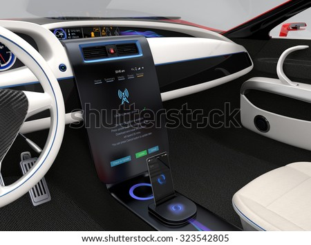 Update vehicle software just touch car's center console screen. Concept for new software solution for automobile. Original design.