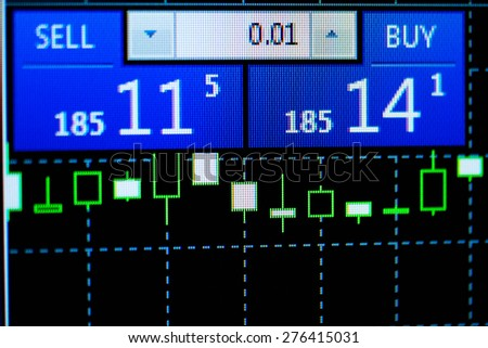Updated rates of the currency market with changed prices for buying and selling, displayed above a candlestick chart on an electronic screen - stock photo