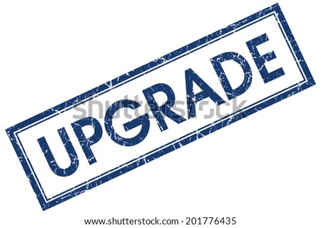 Upgrade blue square grungy stamp isolated on white background - stock photo