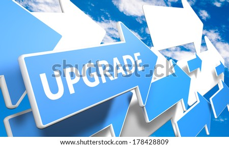 Upgrade 3d render concept with blue and white arrows flying upwards in a blue sky with clouds - stock photo
