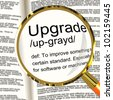 Upgrade Definition Magnifier Shows Software Update Or Installation Fix - stock vector