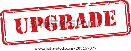 Upgrade grunge rubber stamp on white background. - stock photo