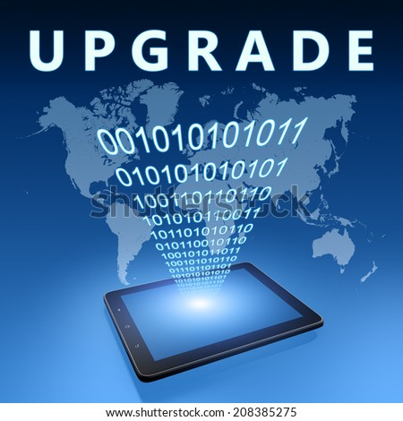 Upgrade illustration with tablet computer on blue background - stock photo