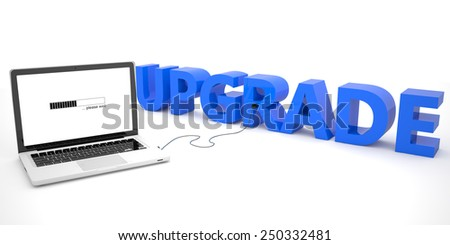 Upgrade - laptop computer connected to a word on white background. 3d render illustration. - stock photo