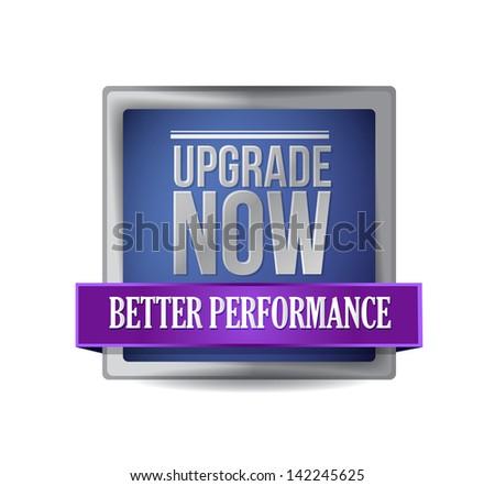 upgrade now blue shield illustration design graphic - stock photo