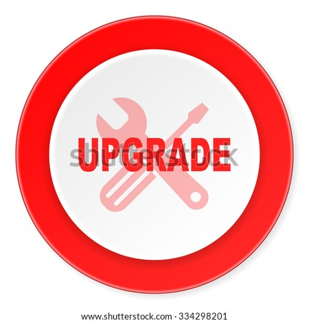 upgrade red circle 3d modern design flat icon on white background  - stock photo